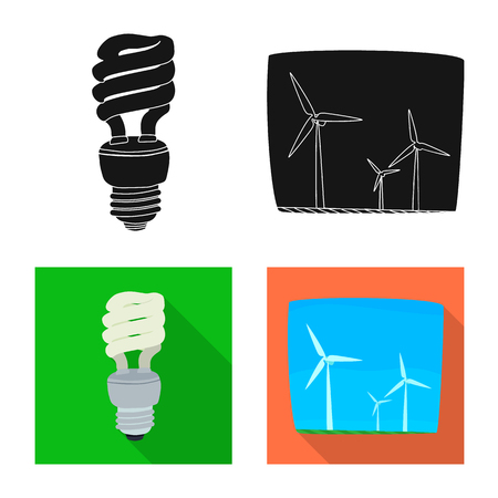 Isolated object of electricity and electric sign. Collection of electricity and energy bitmap icon for stock.