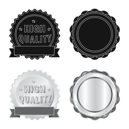 bitmap illustration of emblem and badge logo. Set of emblem and sticker stock symbol for web. Stockfoto - 112092567