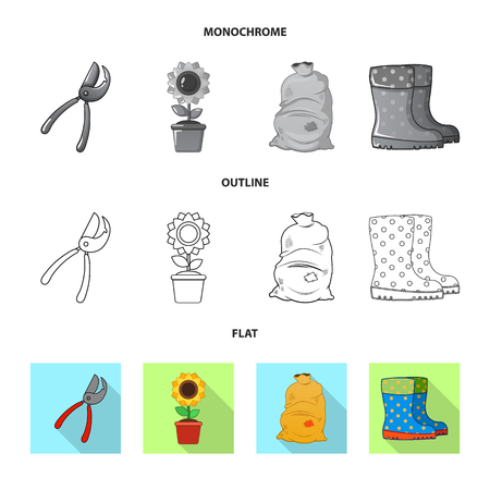 Isolated object of farm and agriculture symbol. Collection of farm and plant stock bitmap illustration.