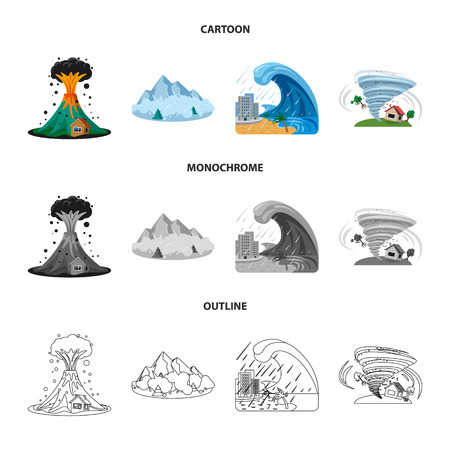 Isolated object of natural and disaster icon. Collection of natural and risk stock bitmap illustration. Stock Illustration - 112093974
