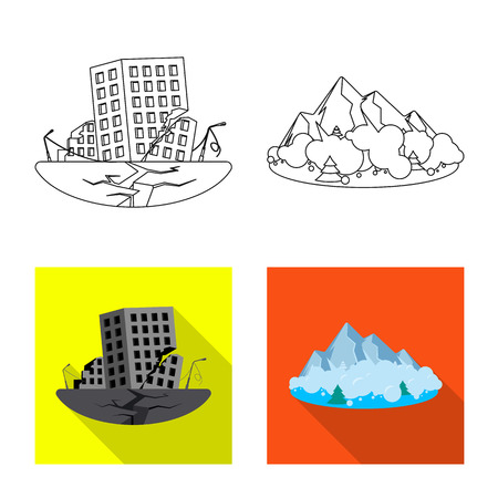 bitmap illustration of natural and disaster sign. Set of natural and risk bitmap icon for stock.