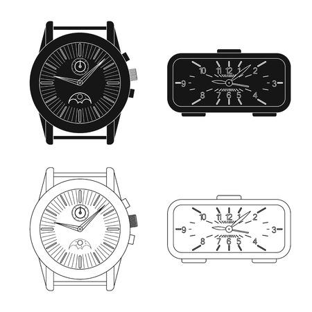 bitmap design of clock and time symbol. Set of clock and circle stock bitmap illustration.