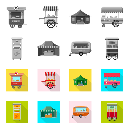 bitmap design of market and exterior logo. Set of market and food stock bitmap illustration. Stock Illustration - 112095199