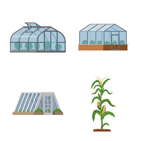 Vector design of greenhouse and plant logo. Set of greenhouse and garden stock symbol for web.