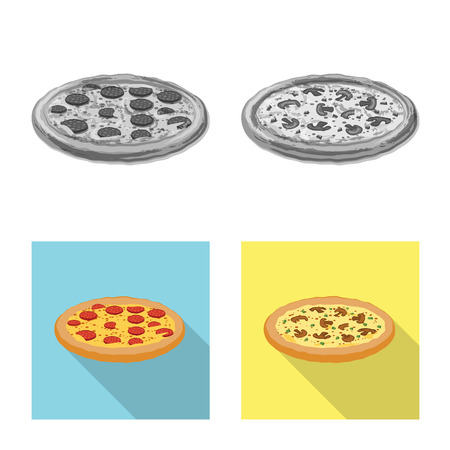 Vector design of pizza and food symbol. Collection of pizza and italy stock vector illustration. 일러스트