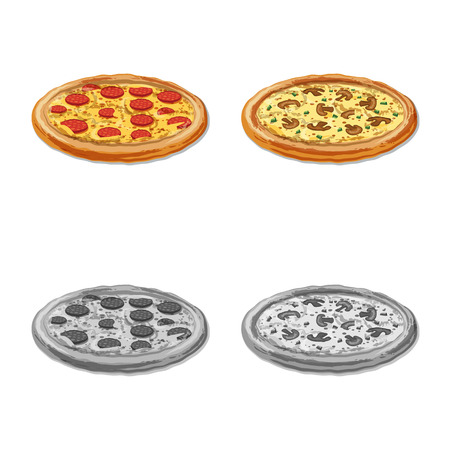 Vector design of pizza and food sign. Collection of pizza and italy vector icon for stock. 일러스트