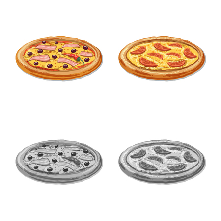 Vector design of pizza and food symbol. Set of pizza and italy stock vector illustration.