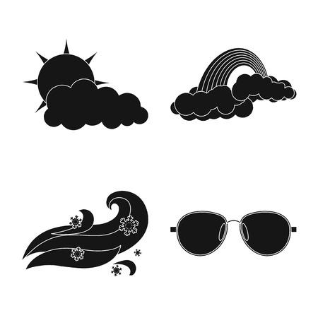 Objeto aislado de la señal del tiempo y el clima. Colección de símbolo de stock de clima y nube para web. Ilustración de vector