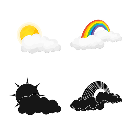 Vector illustration of weather and climate logo. Collection of weather and cloud vector icon for stock.
