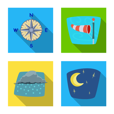Vector illustration of weather and climate symbol. Collection of weather and cloud stock vector illustration.
