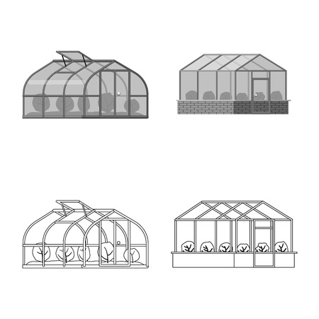 Isolated object of greenhouse and plant icon. Set of greenhouse and garden stock vector illustration. Illustration