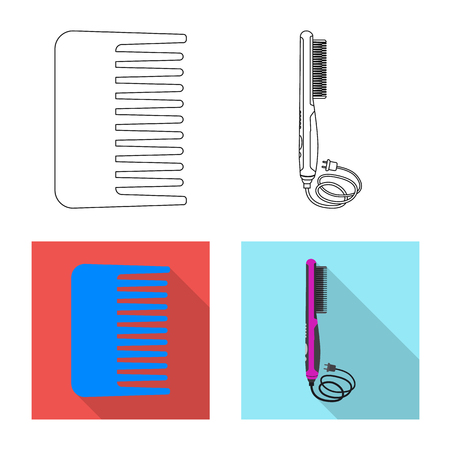 Vector illustration of brush and hair icon. Collection of brush and hairbrush vector icon for stock.