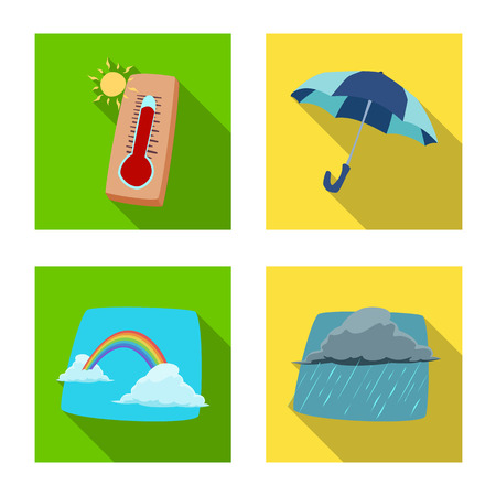 Vector illustration of weather and climate icon. Collection of weather and cloud vector icon for stock.