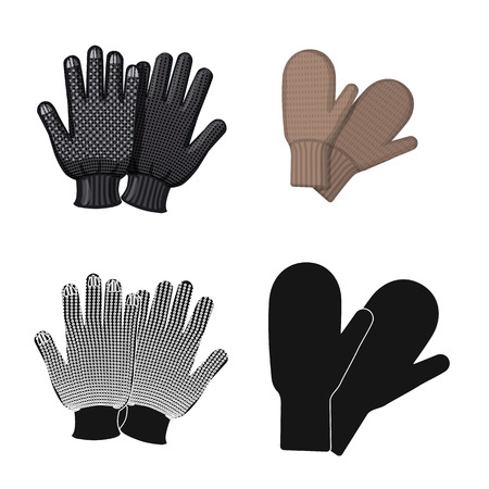 Vector illustration of glove and winter symbol. Set of glove and equipment vector icon for stock. Vektorgrafik