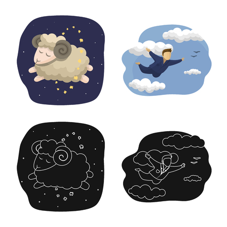 Vector design of dreams and night sign. Collection of dreams and bedroom vector icon for stock.  イラスト・ベクター素材