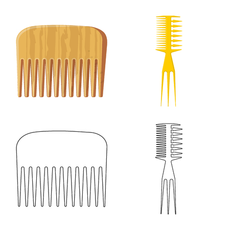 Vector illustration of brush and hair sign. Set of brush and hairbrush vector icon for stock.