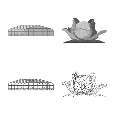 Vector design of greenhouse and plant logo. Collection of greenhouse and garden stock symbol for web. Stock Illustratie