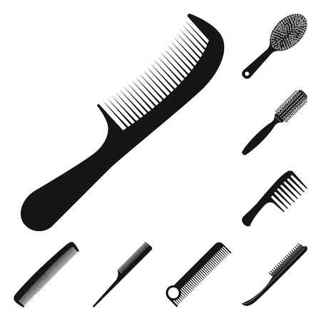 Vector design of brush and hair symbol. Collection of brush and hairbrush stock vector illustration.