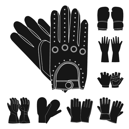 Vector design of glove and winter icon. Set of glove and equipment stock vector illustration. Vettoriali