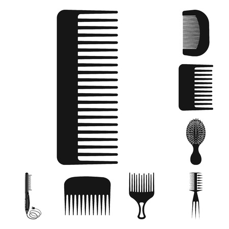 Isolated object of brush and hair logo. Collection of brush and hairbrush stock vector illustration.