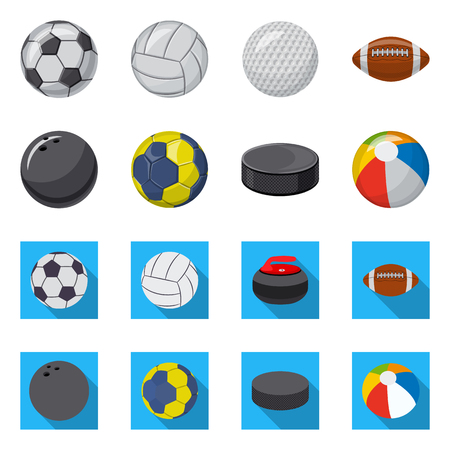 Vector illustration of sport and ball sign. Collection of sport and athletic stock vector illustration.