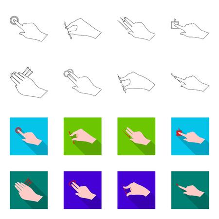 Vector design of touchscreen and hand symbol. Collection of touchscreen and touch stock symbol for web. Illusztráció