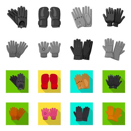 Illustration vectorielle de gant et signe d'hiver. Ensemble de gant et équipement symbole boursier pour le web.