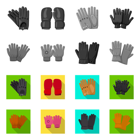 Vector illustration of glove and winter sign. Set of glove and equipment stock symbol for web.