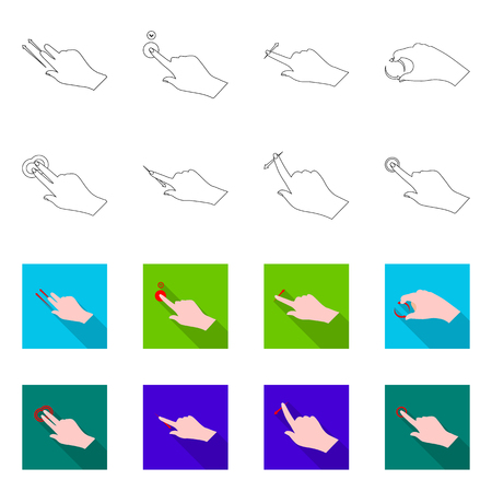 Isolated object of touchscreen and hand symbol. Collection of touchscreen and touch stock symbol for web. Illustration