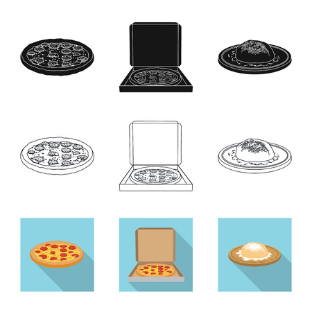 Vector illustration of pizza and food sign. Collection of pizza and italy stock vector illustration.