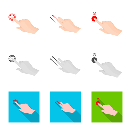 Isolated object of touchscreen and hand sign. Set of touchscreen and touch vector icon for stock.