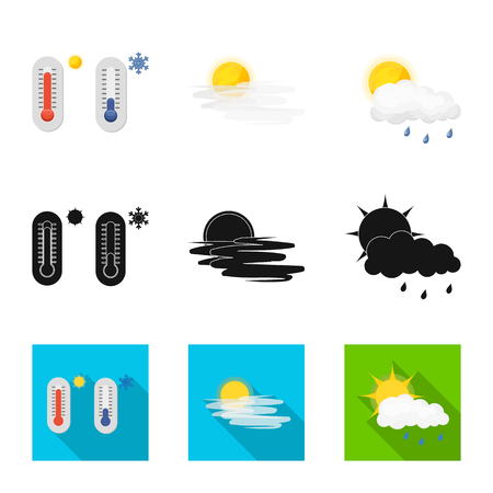 Vector illustration of weather and climate icon. Set of weather and cloud stock symbol for web.