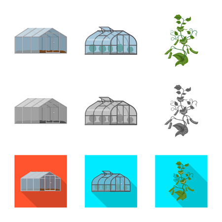 Vector illustration of greenhouse and plant symbol. Set of greenhouse and garden stock vector illustration.