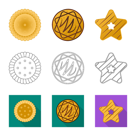 Vector design of biscuit and bake symbol. Collection of biscuit and chocolate vector icon for stock. Illustration