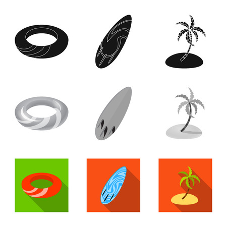 Vector design of equipment and swimming logo. Set of equipment and activity vector icon for stock.