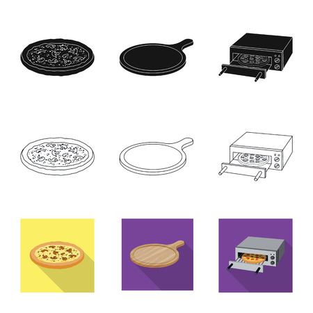 Isolated object of pizza and food sign. Collection of pizza and italy vector icon for stock.