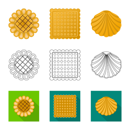 Vector design of biscuit and bake logo. Collection of biscuit and chocolate vector icon for stock.