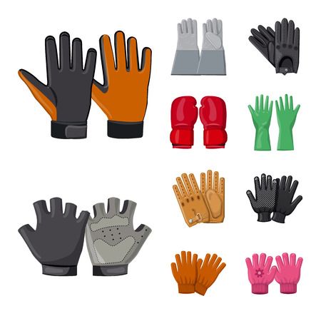 Isolated object of glove and winter icon. Collection of glove and equipment vector icon for stock. Vettoriali