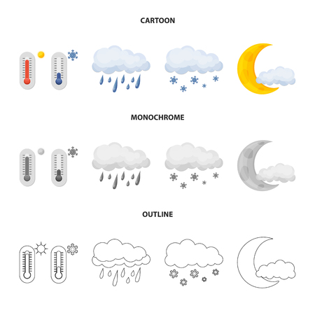 Isolated object of weather and climate logo. Set of weather and cloud stock symbol for web.