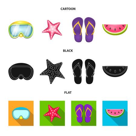 Vector illustration of equipment and swimming icon. Set of equipment and activity stock vector illustration. Vektorgrafik