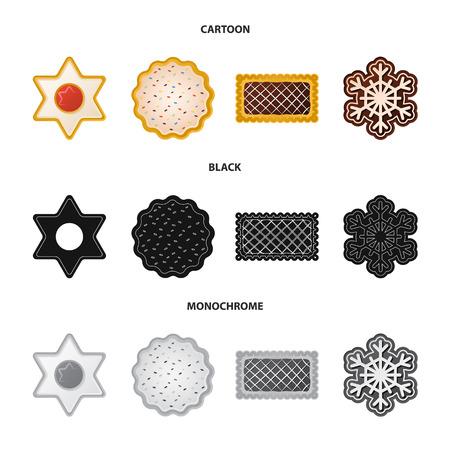 Projekt wektor logo herbatniki i piec. Zestaw herbatników i czekolady wektor ikona na magazynie.