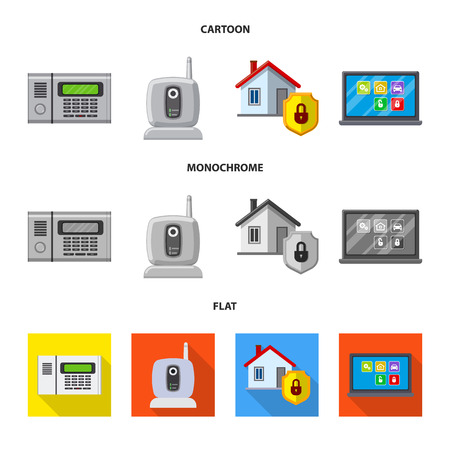 Vector illustration of office and house icon. Collection of office and system stock symbol for web.