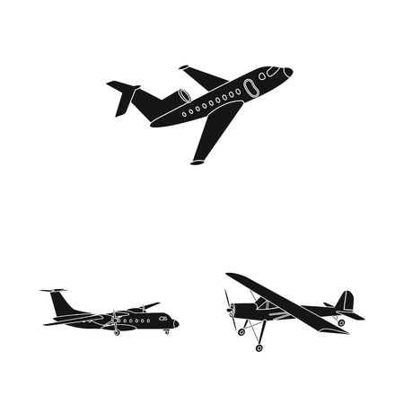 bitmap illustration of plane and transport logo. Set of plane and sky bitmap icon for stock.