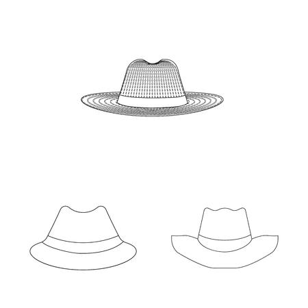 bitmap illustration of headgear and cap sign. Set of headgear and accessory bitmap icon for stock.