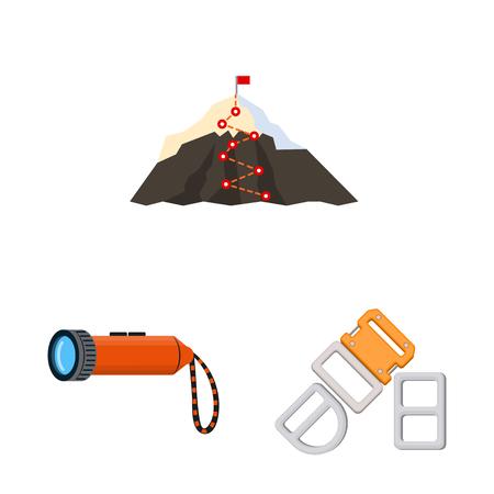 bitmap illustration of mountaineering and peak icon. Collection of mountaineering and camp stock bitmap illustration.