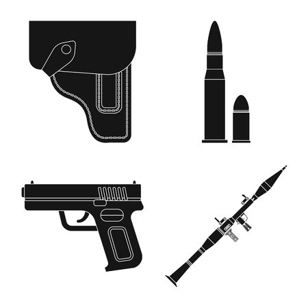 bitmap illustration of weapon and gun logo. Collection of weapon and army bitmap icon for stock.