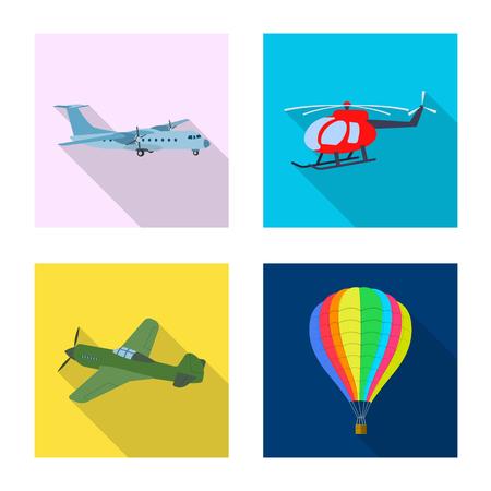 bitmap design of plane and transport logo. Set of plane and sky stock bitmap illustration.