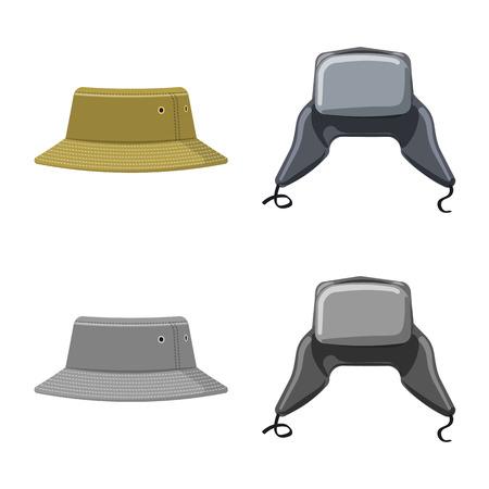 bitmap design of headgear and cap symbol. Collection of headgear and accessory stock bitmap illustration.
