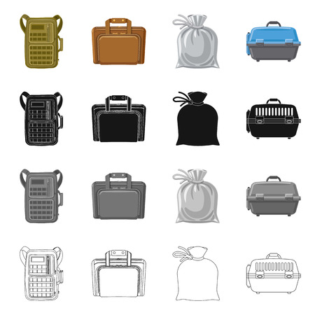 Isolated object of suitcase and baggage sign. Set of suitcase and journey stock bitmap illustration.