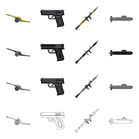 Isolated object of weapon and gun sign. Collection of weapon and army bitmap icon for stock. Stock Photo